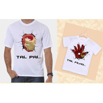 Kit Camisetas Tal Pai, Tal Filho Homem De Ferro Iron Man