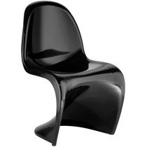 Cadeira Panton Preta Em Abs Injetado Design Moderno