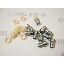 Suporte Rosca Led 5mm Cromado Painel Carro Modelo Bolha