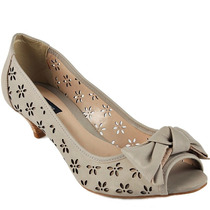 Nº 38 Sapato Peep Toe Emporio Naka Couro Legítimo Bege Areia
