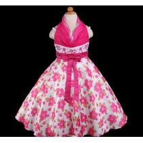 Vestido Infantil Festa Hibisco Frente Unica - Pronta Entrega