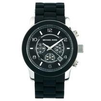 Relógio De Luxo Michael Kors Mk8107 Chron Anal Silic Black