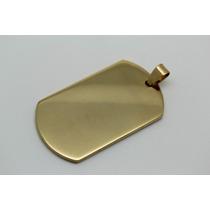 Pingente Placa Dog Tag Aço Cirúrgico Banhado Ouro 18k Gold