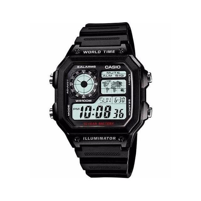73fff65ed6a Relogio Casio Ae-1200 Wh 1a Horario Mundial 5 Alarmes 100m em ...