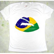 Camiseta Boca Bandeira Do Brasil Baby Look Feminina