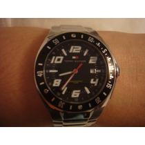 Relógio Tommy Hilfiger Pulseira Aço Fundo Preto
