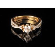 Lindo Anel Solitário Mais Diamante De 15 Pontos