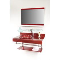 Gabinete De Vidro 90 Cm Banheiro Vermelho Vinho