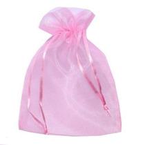 250 Saquinhos De Organza Cor Rosa 10x15 C/ Fita De Cetim