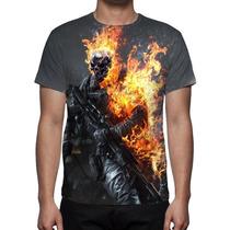 Camisa, Camiseta Battlefield Caveira - Estampa Frente Costa