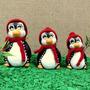 Trio De Pinguins Pinguim Geladeira Cerâmica - Touca Crochê