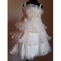 Vestido Infantil Festa/princesa Plissado Batizado
