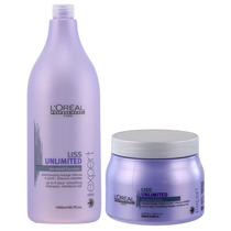 Loreal Liss Unlimited Shampoo 1500ml + Mascara 500ml