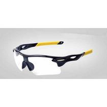 Óculos Sol Esportivo Preto/amarelo Lente Transparente Uv Mtb