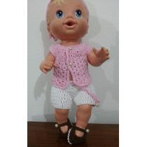 Roupinha De Crochet Rosa E Branca Para Boneca Baby Alive