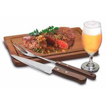 Kit Churrasco Tábua Carne Areá Gourmet Conjunto Com 7 Peças
