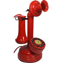 Telefone Antigo Vermelho Castiçal Artesanal Vintage Retrô