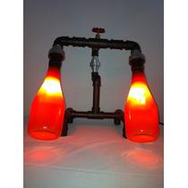 Luminária Artesanal Abajur - Garrafas Conexoes Pvc - Dupla