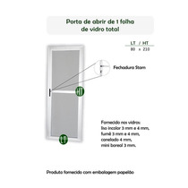 Porta Alumínio Branco Mini Borea Vidro Inteira 1,96 Ax0,49l