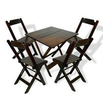 Conjunto De Mesa Bar C/ 4 Cadeiras Dobráveis Madeira 70x70