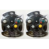 Kit 2 Controles Nintendo Wii Game Cube Preto * Lacrado Novo*