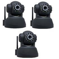 Kit 3 Câmeras Ip Wifi Sem Fio Vigilância Pelo Celular Com 3g