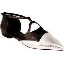 Sapatilha Feminina Shoestock Bico Fino Preta Prata Couro