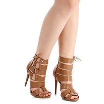 Sandália Salto Gladiadora Feminina Lara - Caramelo