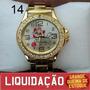 Relógio Feminino Dourado Com Strass - 4 Modelos Diferentes