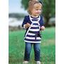 Conjunto Infantil 3 Peças Blusa + Jaqueta Azul Calça Jeans