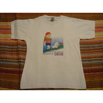 Blusa Branca Camiseta Basica Tam. 10 Anos Religiosa Infantil