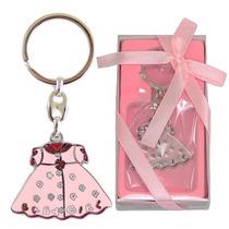 Chaveiro Lembrança Chá De Bebê Baby Girl Vestido Rosa Metal