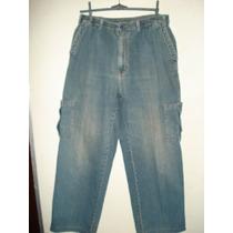 Calca Jeans C Elastico Na Cintura- Bolsos Nas Pernas Tam M