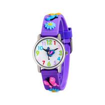 Relógio Analógico Infantil Com Banda De Silicone Borboleta