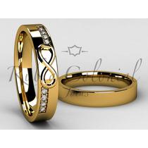 Aliança Infinito Ouro 18k. 8 Diamantes De 2 Pontos Cada.