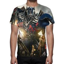 Camisa, Camiseta Transformers Era Da Extinção- Estampa Total