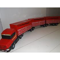 Kit Bitrem Brinquedo Miniatura Caminhão 9 Eixo Lonado Scania
