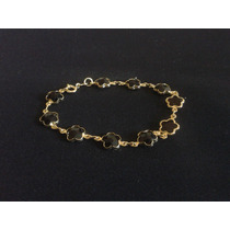 Pulseira Pingente Pedra Preta Semi-jóias Folheada A Ouro