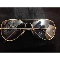 Óculos Aviador Retro Vintage Com Lente Transparente Dourado