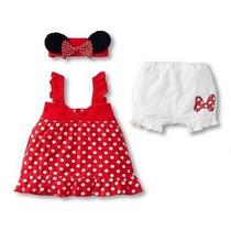 Conjunto Infantil Minnie Blusa Short Tiara Vermelho Rosa