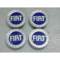 Kit Calotinha Centro Da Roda Fiat C/etiq Gold Azul 48mm