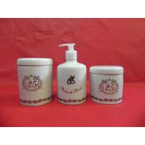 Kit Higiene De Porcelana Banheiro Bodas De Prata Presente