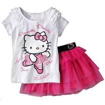 Conjunto Infantil Hello Kitty Blusa Saia Tutu Rosa Lilás