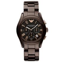 Relógio Emporio Armani Ar1446 Cerâmica Marrom Com Garantia;