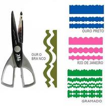 Kit C/ 4 Tesouras Artesanal 16cm P/ Papel Scrap Eva E Bisqui