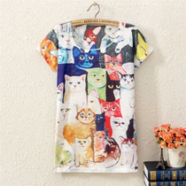 Camiseta Cat Lovers Os Gatinhos Coloridos Arts Cats Color