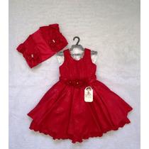 Vestido Festa C/ Colete Vermelho Bambina Fashion Saldão