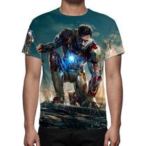 Camisa, Camiseta Homem De Ferro - Estampa Total