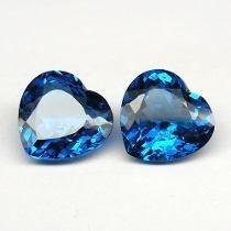 Frete Grátis! 2 Coração Topázio Azul Swiss 6mm.apenas!