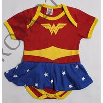 Body Infantil Mulher Maravilha Com Saia Super Herois